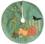 Handmade 23cm Felt Applique Autumn Pumpkin Corn Tree Skirt Small Tabletop Size