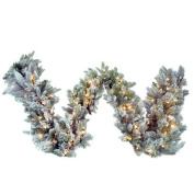 2.7m x 36cm Pre-Lit Frosted Balsam Fir Artificial Christmas Garland - Clear Dura-Lit Lights