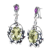 Cristina Sabatini Iris Blossom Drop Earrings with Natural Green Amethyst in Sterling Silver