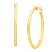 Just Gold Etched 30 mm Hoop Earrings in 10K Gold