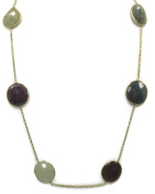 Multi-Colour Sapphire 46cm Necklace,14k Yellow Gold Cable Chain,13.2 Grammes