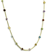 Multicolor Gemstones 46cm Necklace 14k Yellow Gold Chain with Lobster Lock