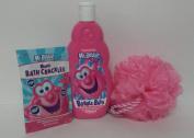 Mr. Bubble Bath Bundle Magic Snap Pop Fizz Sponge Pink Hypo-Allergenic Tear Free