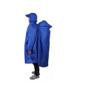 Biscount 3 IN 1 Multifunction Waterproof Hooded Rain Poncho Lightweight Cape With Reflecter Perfect for Hiking Hunting Camping Fishing Climbing Travel Outdoor Sports-Blue