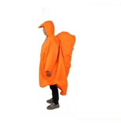 Biscount 3 IN 1 Multifunction Waterproof Hooded Rain Poncho Lightweight Cape With Reflecter Perfect for Hiking Hunting Camping Fishing Climbing Travel Outdoor Sports-Orange