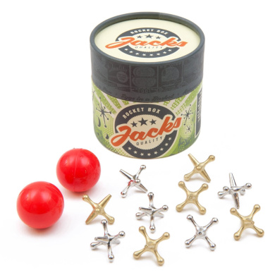 Jacks Game: Retro, New Vintage, Classic Game of Jacks, High Quality Gold and Silver Toned Jacks, Two Red Bouncy Balls and Set of Instructions, Fun for Kids and Adults of All Ages.