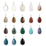 20pcs Water Drop Shape Healing Chakra Charm Beads Crystal Quartz Stone Randow Colour Pendants for Necklace Jewellery Making