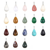 24pcs Oval Round Water TearsDrop Healing Chakra Charm Stone Beads Semi-Precious Gemstone Rock Crystal Quartz Stone Pendants for Necklace Jewellery Making