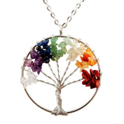 Cmidy Tree of Life Pendant for Necklace Amulet Crystal Quartz DIY 7 Chakra Gemstone Charms for Family Best Friends