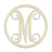 UNFINISHEDWOODCO Single Letter Circle Monogram-M, 48cm , Unfinished