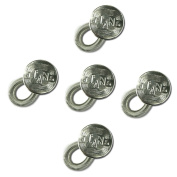 5-pack Waistband Extender - Spring Button with Engraved Jeans Design - Elastic with Sturdy Spring