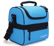 MIER Adult Lunch Box Blue Insulated Lunch Bag Large Cooler Tote Bag for Men, Women, Double Deck Cooler