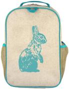 SoYoung Raw Linen Grade School Backpack, Aqua Bunny