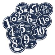 Monthly Baby Stickers for Onesie - Milestone Month Sticker - Gender Neutral - Nautical