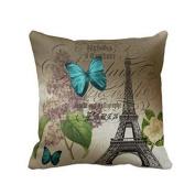 Hatop Blue Butterflies Paris Eiffel Tower Print Throw Pillow Case Cushion Cover Fashion Home Decorative Pillowcase