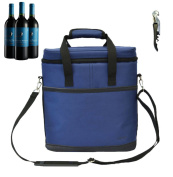 Vina® 3 Bottle Wine Carrier - Travel Insulated Wine Carrying Case Tote Bag for Champagne Picnic Cooler Blue + Free Corkscrew