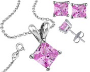 925 Sterling Silver Princess Cut Cubic Zirconia Pink Pendant, Earring and Necklace Combo