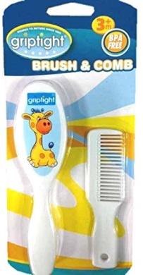 Griptight - Giraffe Design Soft Bristle Brush and Comb Set (Blue)