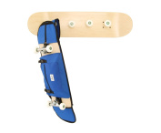 Skateboard-themed Coat rack by Skate-Home + blue Monar Supply skateboard carry bag.Includes Screws and Anchors. Varnished in natural wood colour.
