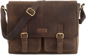 LEABAGS Cambridge genuine buffalo leather briefcase in vintage style - Nutmeg