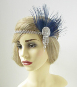 Navy Blue & Silver Feather Headdress Headband 1920s Flapper Great Gatsby Vtg 243 *EXCLUSIVELY SOLD BY STARCROSSED BEAUTY*