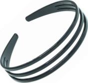 Womens Girls 2.5cm Glossy Black Basic Tripple Row Plastic Hairband / Headband / Aliceband Hair Accessory
