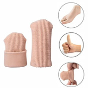 Makhry 4pcs Adjustable Cuttable Gel Toe and Finger Cap Lined Gel Toe Covers Sleeves Ribbed Knit Toe Caps Silopad Digital Caps