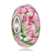 JewelleryQueen 925 Sterling Silver Flower Pink Bubbles Murano Glass Beads Fit Pandora Charm Bracelets