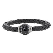 Baci Belli - Bracelet with Magnetic Stainless Steel Clasp and Pearl and Enamelled Steel Aniline Black Calf Leather - Mens