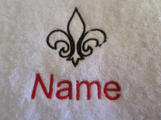 Hand Towel, Bath Towel or Bath Sheet Personalised with FLEUR DE LIS logo and name of your choice