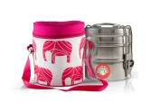Thermally Insulated Pink Elephant Indian Tiffin Bag Carrier Including 3-Tier Tiffin
