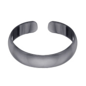 RS JEWELS 925 Sterling Silver Toe Ring.Black Rhodium Adjustable Simple Plain Band Ring