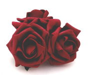 3 Burgundy Roses Cluster Artificial Hair Flowers Corsage Clip Hand Made in Uk