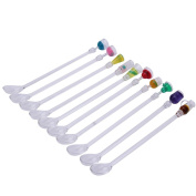 10Pcs 225mm Drink Cocktail Stirrers Swizzle Sticks Plastic for Christmas Party Wedding Prom