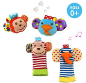 4 x Baby Infant Soft Toy Animal Wrist Rattles Hands Foots Finders Developmental Toys