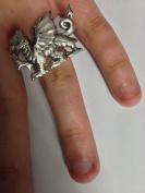 Welsh Dragon PP-G51 English Pewter Ladies Ring, Adjustable Handmade in Sheffield