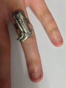 Cowboy Boots PP-W06 English Pewter Ladies Ring, Adjustable Handmade in Sheffield
