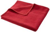 David Fussenegger Sylt Cotton Blanket, Plain Colour with Decorative Stitching, wine red, 140 cm x 200 cm