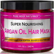Pure Body Naturals Argan Oil Hair Mask, 240ml Hair Treatment Therapy, Deep Conditioner For Damaged & Dry Hair, Heals & Restructures Hair Shaft & Growth, Detoxifies Scalp & Nourishes