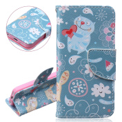 iPhone 5C Wallet Case, iPhone 5C Flip Protective Cover, iPhone 5C PU Leather Case Cover with Credit Card Holder, ISAKEN Luxury Elegant Book Style Case for Apple iPhone 5C Drawing Design Pattern Magnetic case with Stand Function - kitty white flower lov ..