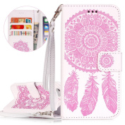 iPhone 6 Plus Case, iPhone 6S Plus Case, ISAKEN iPhone 6 Plus Flip Cover Dreamcatcher Design in White Pattern PU Leather Case Credit Card Slot Magnetic Flip Protective Stand Case Cover with Strap for Apple iPhone 6 14cm - Dreamcatcher