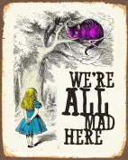 Alice In Wonderland We're All Mad here METAL Wall Sign 15cm x 20cm Plaque Vintage Retro poster art picture print
