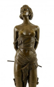 Erotic Bronze Figure - Girl with Riding Corp - signed - Bruno Zach - Real Bronze