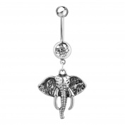 Isajewelry Stainless Steel Lucky Cute Elephant Animal Dangle Navel Belly Button Bars For Womens Body Jewellery