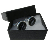 Handmade Black Gear Stick - Car Themed - Silver Plated Cufflinks - Gift Boxed