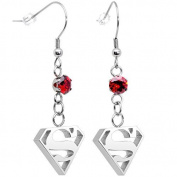 Officially Licenced Stainless Steel Red Accent DC Comics Superman Logo Fishhook Dangle Earrings