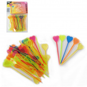 50 Toothpicks with Decorative 8.5 cm Assorted Colours Heart Design