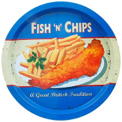 Martin Wiscombe Fish and Chips Tin Tray, Assorted Colour