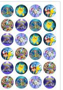 24 Precut 40mm Round Pokemon Edible Wafer Paper Cake Toppers
