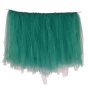 Vlovelife 100cm X 80cm Teal Blue Tulle Table Skirt Tutu Tableware Wedding Party Baby Shower Decorations Handmade Favour Customised Size Available